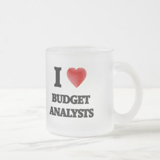 I love Budget Analysts (Heart made from words) Frosted Glass Mug
