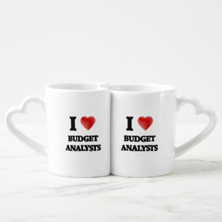 I love Budget Analysts (Heart made from words) Lovers Mug Sets