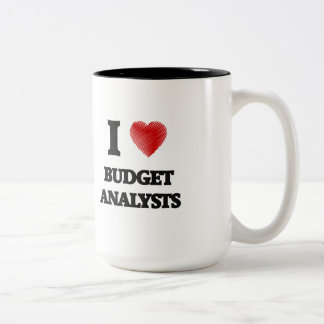 I love Budget Analysts (Heart made from words) Two-Tone Mug