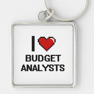 I love Budget Analysts Silver-Colored Square Key Ring