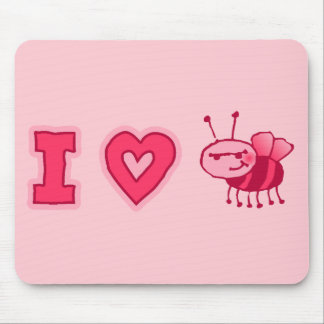 """I Love Bugs"" Mousepad in Pink"