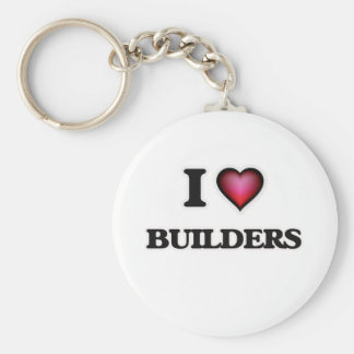 I Love Builders Basic Round Button Key Ring