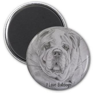 I Love Bulldogs 6 Cm Round Magnet