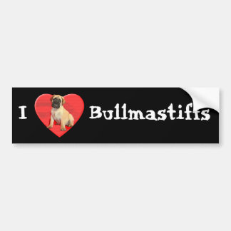 I Love Bullmastiffs bumper sticker