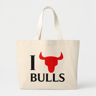 I Love Bulls Large Tote Bag