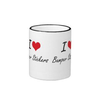 I Love Bumper Stickers Artistic Design Ringer Mug
