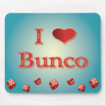 I Love Bunco in Red with red dice Mousepads