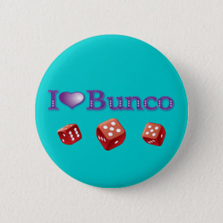 I Love Bunco with Red Dice 6 Cm Round Badge