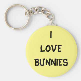 I love bunnies badge - Colour of your choice Basic Round Button Key Ring
