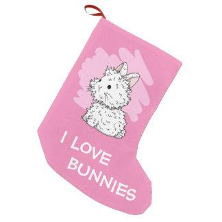 I love bunnies Christmas Stocking - Pink