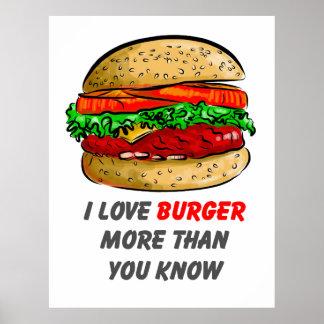 I Love Burger Poster
