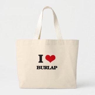 I Love Burlap Tote Bag