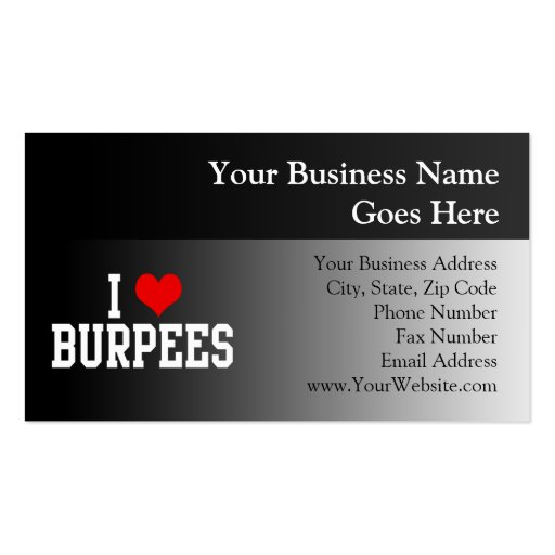 I Love Burpees, Fitness Business Cards