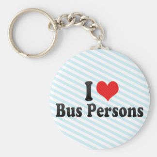 I Love Bus Persons Basic Round Button Key Ring
