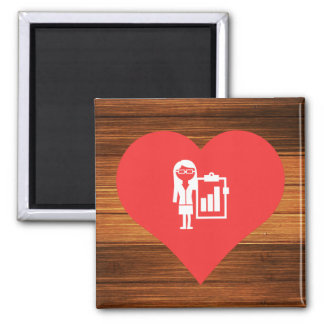 I Love Business Women Icon Square Magnet