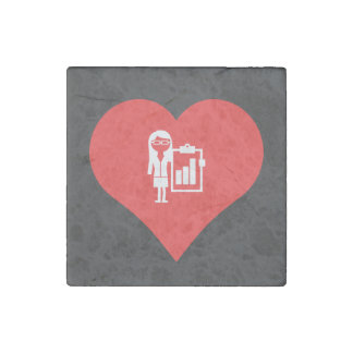 I Love Business Women Icon Stone Magnet
