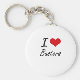 I Love Busters Artistic Design Basic Round Button Key Ring