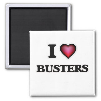 I Love Busters Square Magnet