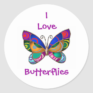 I Love Butterflies Round Stickers