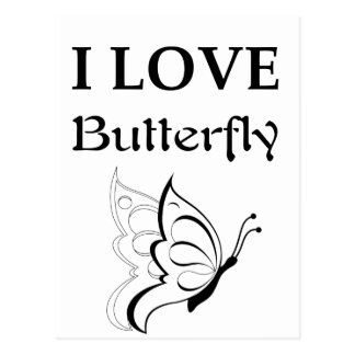 I Love Butterfly Postcard
