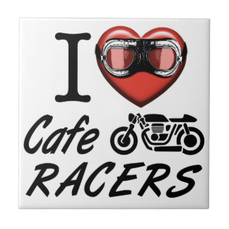 I Love Cafe Racers Ceramic Tile