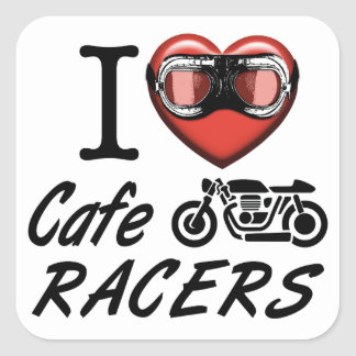 I Love Cafe Racers Square Sticker