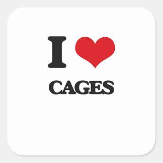 I love Cages Square Sticker