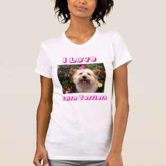 I Love Cairn Terrier Puppy Dogs Ladies Tee Shirt