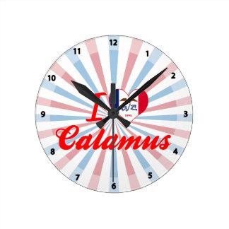 I Love Calamus Iowa Round Wall Clock