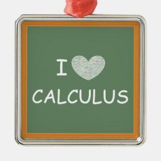 I Love Calculus Silver-Colored Square Decoration
