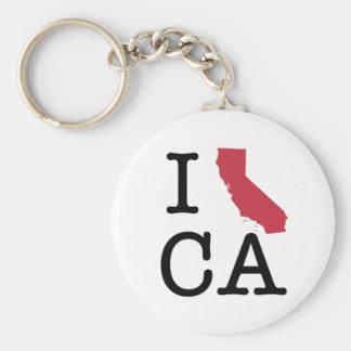 I Love California Basic Round Button Key Ring