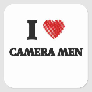 I love Camera Men (Heart made from words) Square Sticker