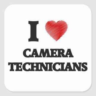 I love Camera Technicians (Heart made from words) Square Sticker