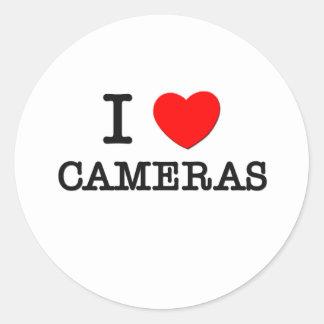 I Love Cameras Round Stickers