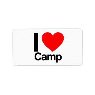i love camp address label