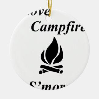 I Love Campfire S'mores Round Ceramic Decoration