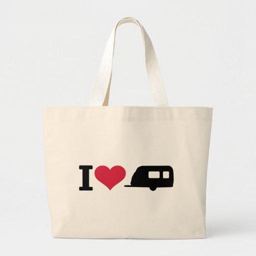 I love camping - caravan tote bag