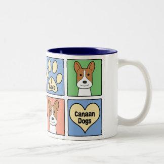 I Love Canaan Dogs Two-Tone Coffee Mug