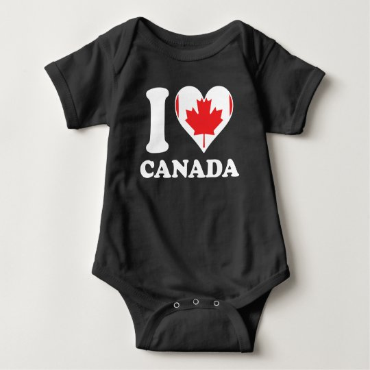 I Love Canada Canadian Flag Heart Baby Bodysuit