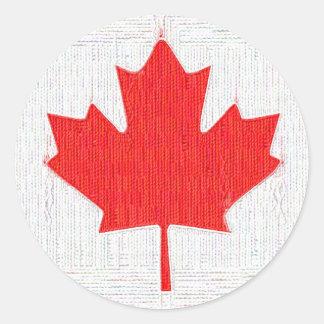 I love Canada! Canadian Flag Stitch Look Design Classic Round Sticker