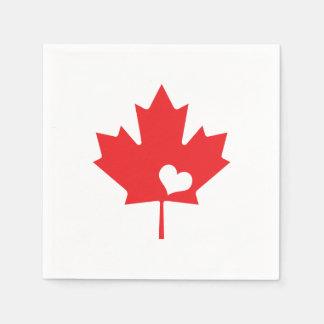 I Love Canada - Canadian Pride Maple Leaf Heart Disposable Serviette
