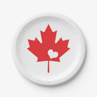 I Love Canada - Canadian Pride Maple Leaf Heart Paper Plate
