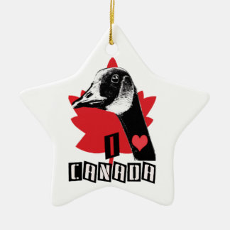 I Love Canada Ceramic Ornament