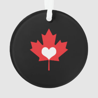 I Love Canada Heart and Maple Leaf Ornament