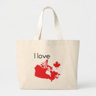 I love Canada Map Large Tote Bag