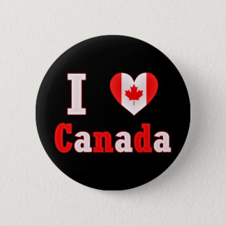 I Love Canada Maple Leaf Heart 6 Cm Round Badge