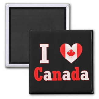 I Love Canada Maple Leaf Heart Square Magnet