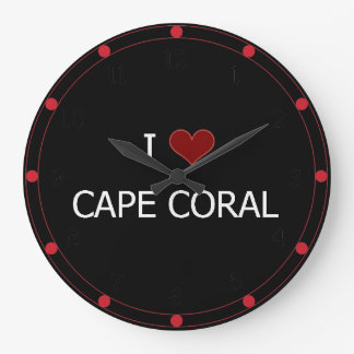 I Love Cape Coral Large Clock