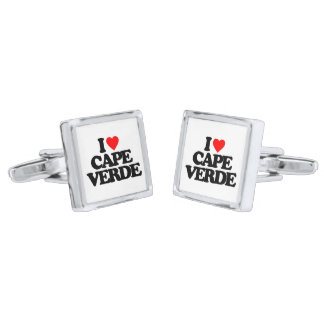 I LOVE CAPE VERDE SILVER FINISH CUFF LINKS