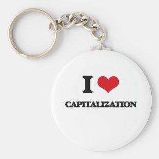 I love Capitalization Basic Round Button Key Ring